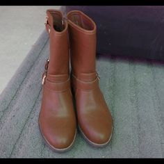 Camel colored mid calf height boots Comfortable, never worn mid calf boots. Neutral/camel colored, soft inner lining. Never worn, like new Shoes Combat & Moto Boots