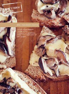 Brie and mushroom crostini