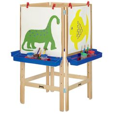 """The 4-Way Adjustable Art Easel from Jonti-Craft accommodates four young artists at once, saving both time and space in the classroom. Adjust the hardboard panels from 36"""" to 46 1/2"""" to suit students of varying heights/ages. Included clips secure paper in place, and art trays hold paint cu"""