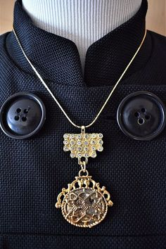 "Ornate Reversible Rhinestone Pendant Statement Necklace Roman Centurion 18"" #Unbranded #Statement"