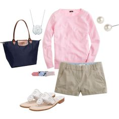 Too hot to wear sweaters with shorts around here, but I think a pink tee would work just as well.