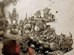 10 meses. Esse foi o tempo necessário para que Joe Fenton terminasse a incrível ilustração abaixo.  Intitulada Solitude, a peça possui cinco metros de altura por oito de diâmetro. Durante quase um ano, Fenton dedicou dez horas por dia na elaboração desse monumental trabalho.