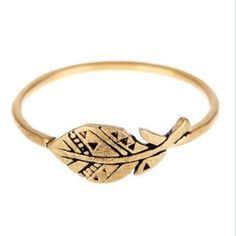 """⬇️NWT Dogeared Gold Feather Ring! NWT Dogeared 14K Yellow Gold Plated Sterling Silver Plume Ring! So delicate and sweet! Size: 6.  Details: - 14K gold vermeil plume (feather design) ring - Approx. 0.25"""" H x 5/8"""" W ring face - Made in USA Materials: 14K gold plated sterling silver Dogeared Jewelry Rings"""