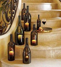 DIY: Easy way to cut glass bottles ! in glass diy with Vintage Light Glass DIY Chandelier Bottle Wine Bottle Candle Holder, Wine Bottle Centerpieces, Candle Holders, Wedding Centerpieces, Bottle Decorations, Wedding Decorations, Candle Stand, Wine Bottle Candles, Wine Bottle Crafts