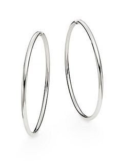 "Saks Fifth Avenue Sterling Silver Hoop Earrings/2.75"" - Sterling Silve"