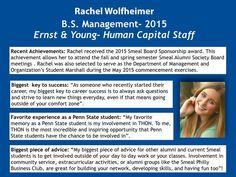 Happy September!! Enjoy our Alumni Spotlight of the month, Rachel Wolfheimer! @SmealCollege #WeAre