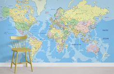 Worldwide Map - Peel and Stick
