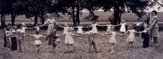 Mennonite children playing at recess in summer Bible school, Protection Mennonite Church, Comanche County, Kansas, circa 1948. Photo courtesy of Twyla White.