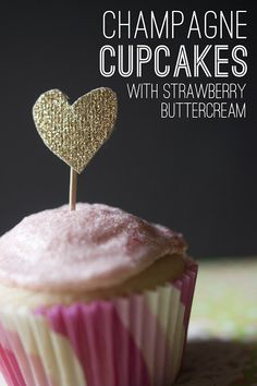 Champagne Cupcakes with Strawberry Buttercream Icing