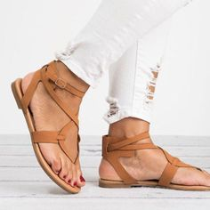 Plus Size Shoes Woman Bandage Summer Casual Low Heels Ankle Strap Women Sandals Women Shoes Flats Flip Flops How To Wear Loafers, Loafers Outfit, Loafers For Women, Women Sandals, Brown Heels, Brown Sandals, Flat Sandals, Gladiator Flats, Flat Shoes