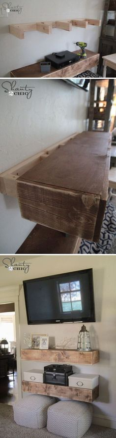 4 Startling Useful Ideas: Floating Shelves Alcove Tvs floating shelves nightstand bathroom.Floating Shelves With Tv Storage floating shelves bathroom spacing.How To Build Floating Shelves Products. Media Shelf, Creation Deco, My New Room, Home Projects, Carpentry Projects, Craft Projects, Diy Furniture, Bedroom Furniture, Diy Bedroom