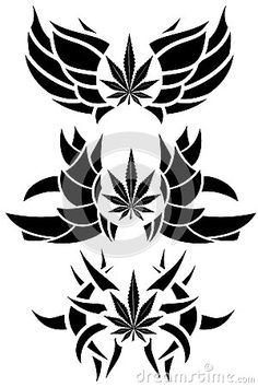 Image representing a marijuana leaf in a set of different isolated tattoos. black color