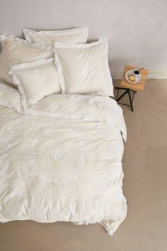 $298 NIP ANTHROPOLOGIE Enes Cream QUEEN Duvet Cover Cotton Bedding FREE SHIPPING