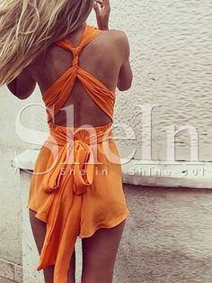 Shop Orange Sleeveless Backless Playsuit online. SheIn offers Orange Sleeveless Backless Playsuit & more to fit your fashionable needs.