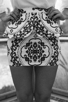 Classy. Peplum Skirt. Black & White. Print Design.