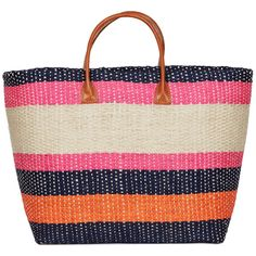 Joie Provence Tote ($77) ❤ liked on Polyvore featuring bags, handbags, tote bags, pink multi stripe, totes, leather tote handbags, striped beach tote, leather tote bags, leather handbag tote and pink leather tote