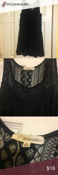 Rewind Dark Blue Lace Dress (XL) Material: 95% nylon, 5% spandex   Size XL, in great condition  Beautiful lace detailing, slip attached to dress    ~~~  Thanks for stopping by! New items being added the rest of this week ✔️   Check out the rest of my closet & bundle to save 💲💲💲   Open to reasonable offers 💰  All items come from a smoke-free home & are packaged with love & care 💕   Please comment with any questions/inquires ☺️ much love rewind Dresses Midi