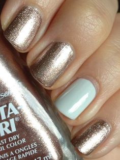 Sally Hansen Insta-Dri Fast Dry Nail Color in Style Steel (with blue accent nail)