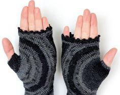 Knitted Fingerless Gloves Chamomile Clothing by nbGlovesAndMittens