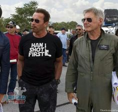 Arnie (awesome tshirt) and Harrison Ford on the set of Expendables 3
