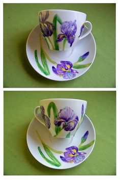 Iris by Agnieszka Sokołowska. Hand painted on porcelain. All my porcelains are painted with Talens Decorfin Porcelain and baked in high temperature, so they are pretty durable. Cup Design, China Painting, Pottery Painting, Hand Painted Ceramics, Vintage Pottery, Teacup, Ceramic Pottery, Tea Set, Iris