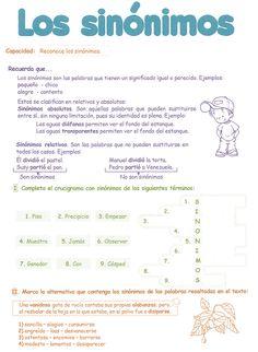 Razonamiento Verbal: Sinónimos para niños 5° Grado Primaria Spanish Grammar, Spanish Class, Learning Spanish, School Grades, Dual Language, Homeschool, Bullet Journal, Classroom, Education
