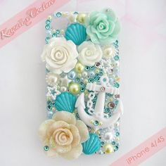 Kawaii x Couture Beachy Nautical Theme Turquoise Teal White Gold Decoden iPhone 4 Case