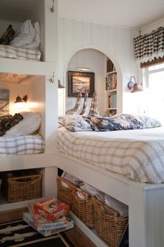 Bunks with personality View perfect guest room! From APARTMENT THERAPY (Shoebox Inn House) So love this place. What a wonderful little home/cottage/getaway. Bunk Rooms, Bunk Beds, Twin Beds, One Bedroom, Kids Bedroom, Built In Bunks, Built Ins, My New Room, House Tours