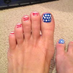 Fourth of July toenail polish