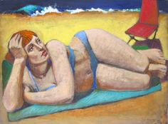 """Marie Fox Painting A Day: That Summer Day, Figurative Painting of Woman, Acrylic on Stretched Canvas, 30"""" x 40"""""""