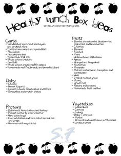 Healthy lunch box shopping list