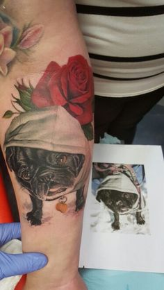 Milla, My pug of 13yrs ❤ #pug #pugtattoo #dogtattoo #memorialtattoo. Done by Melissa Valiquette- DFA tattoos
