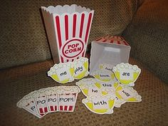 Popcorn Sight Word game.  Write sight words on most cards.  Write POP!  on only a few cards.  If you draw POP!   You have to put all your cards back in the bucket.
