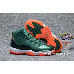 """newest b4e80 f0881 """"Miami Hurricanes"""" Air Jordan 11 PE Green – White Orange Copuon Code"""