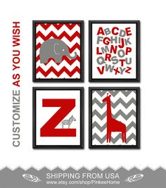 zebra nursery animal alphabet nursery abc letters nursery wall decor safari baby room art giraffe elephant baby nursery decor ABC poster by PinkeeHome