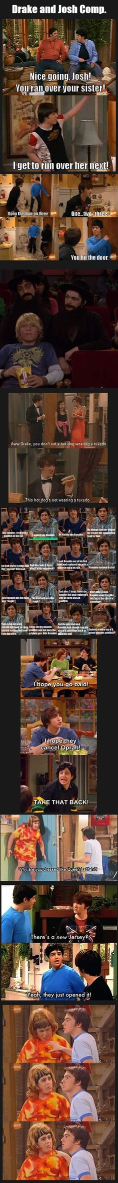Drake and Josh. One of the best shows ever.>>> Haha I love Drake and Josh! Seinfeld, Full House, Tv Quotes, Funny Quotes, Funny Memes, Music Quotes, Funny Cartoons, Memes Humor, Funny Gifs