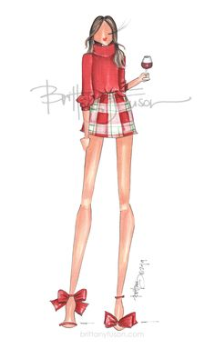 Brittany Fuson | fashion illustration | Christmas | holiday | Christmas cards | cocktail party | unique Christmas cards | Christmas presents Illustration Fashion, Fashion Illustrations, Illustration Art, Ballet Fashion, Fashion Art, Fashion Design, Unique Christmas Cards, Christmas Presents, Tartan Christmas