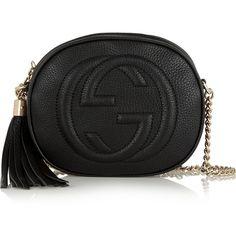 Gucci Soho textured-leather shoulder bag ($850) ❤ liked on Polyvore featuring bags, handbags, shoulder bags, gucci, bolsa, black, gucci handbags, black handbags, gucci purses и tassel handbag
