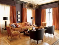 Burnt orange and chocolate brown infuse this room with autumn warmth - Autumn-inspired Interior Design