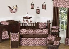 Pink and Chocolate Brown Damask Nicole Girl Baby Bedding - 9 pc Crib Set by Sweet Jojo Designs, http://www.amazon.com/dp/B008KP8TVE/ref=cm_sw_r_pi_dp_Ka37qb1WXP2P3