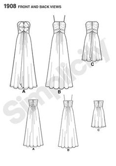 Formal Dress Sewing Patterns Free | ... RELEASE PROM PARTY EVENING DRESS GOWN SEWING PATTERN SIMPLICITY 1908