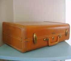 Vintage Samsonite Suitcase 1950s Caramel Brown by cherryrivers, $50.00