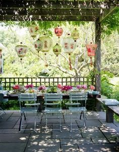 garden soiree....I want to do a Bridal Shower with a Cherry Blossom and Japanese Paper Lantern theme...maybe soon ;)