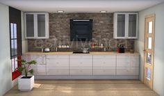 Diseño de cocina con combinación de materiales naturales, como son la piedra para el revestimiento de una pared y la madera para la encimera y mobiliario en blanco. #Reformas cocinas Double Vanity, Bathroom, Design, Kitchen Design, Kitchens, Stone Houses, Natural Materials, Vanity Tops, Wood