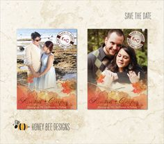 FALL WEDDING Save the Date - Autumn Watercolor Leaves Themed Save the Date with Engagement Photo - Printable Digital File