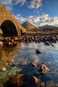 Sligachan, the old bridge and Glamaig. Isle of Skye. Scotland.