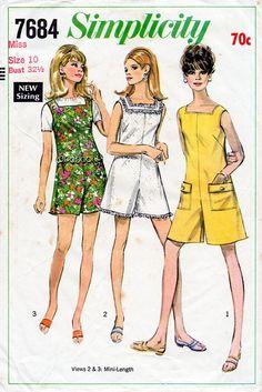 1960s Mini Jumpsuit Pattern Simplicity 7684 Vintage Sewing