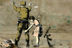 Girl and a Soldier by Banksy Canvas Print #2007