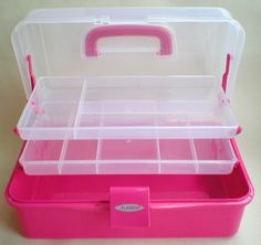 Pink 2 Tray Storage Box Ideal As Diy Tool Box, Horse / Dog Grooming Box Free P+p