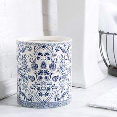 Birch Lane Porcelain Bathroom Accessories,Blue & White Waste Basket